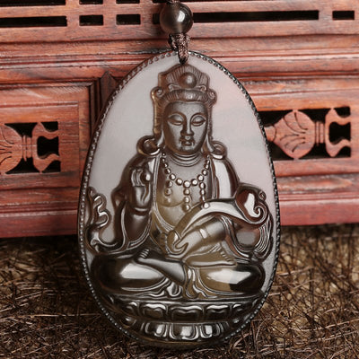 Obsidian Guanyin Goddess Pendant - ShinyGoods.store