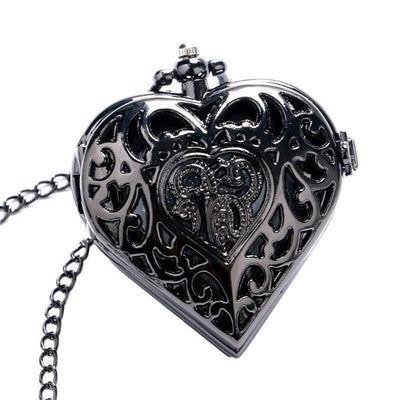 Black Heart-Shape Pocket Watch - ShinyGoods.store