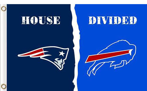 New England Patriots vs Buffalo Bills Divided Flag