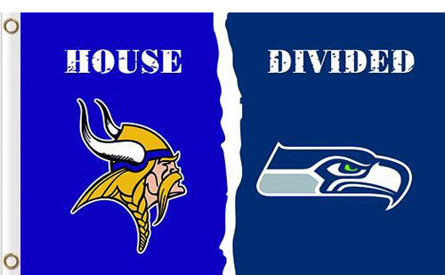Minnesota Vikings vs Seattle Seahawks Divided Flag