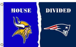 Minnesota Vikings vs New England Patriots Divided Flag