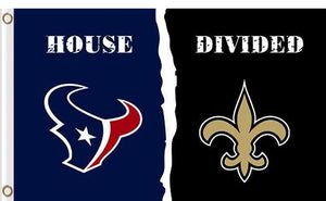 Houston Texans vs New Orleans Saints Divided Flag