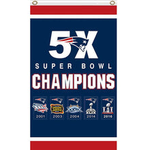 Load image into Gallery viewer, New England Patriots Flag  Super Bowl 5X Champions 3x5 Ft
