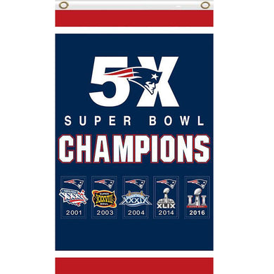 New England Patriots Flag  Super Bowl 5X Champions 3x5 Ft