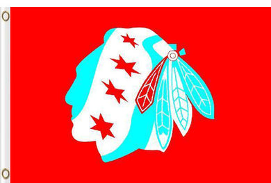 Chicago Blackhawks logo red background flag 3x5 FT