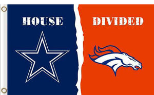 Dallas Cowboys vs Denver Broncos Divided Flag
