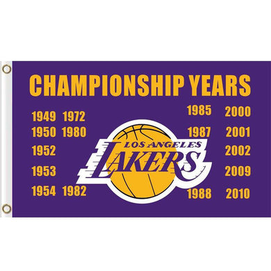 Los Angeles Lakers Championship Years Flag 3ftx5ft