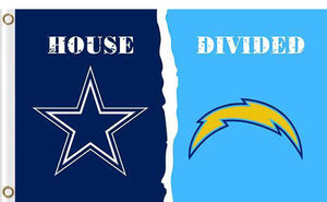 Dallas Cowboys vs San Diego Chargers Divided Flag