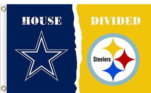 Dallas Cowboys vs Pittsburgh Steelers Divided Flag