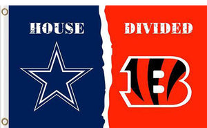 Dallas Cowboys vs Cincinnati Bengals Divided Flag