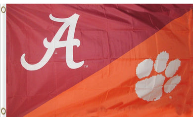 Alabama & Clemson Divided Flag 3ftx5ft