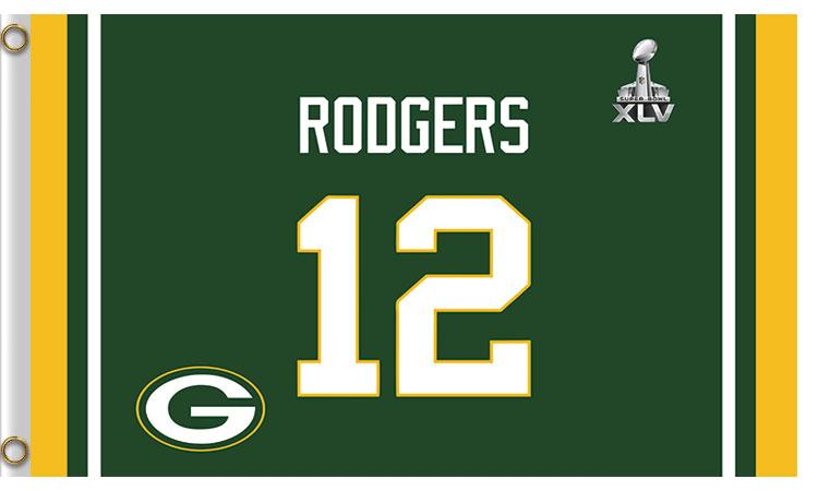 12 Th Rodgers Green Bay Packers Flag 3X5Ft