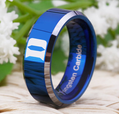 8MM Blue Tungsten Duke Blue Devils Championship Ring