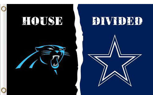 Carolina Panthers vs Dallas Cowboys Divided Flag