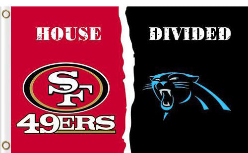 Carolina Panthers vs San Francisco 49ers Divided Flag