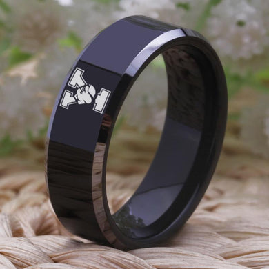 8MM Black Tungsten Yale Championship Ring
