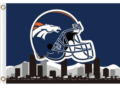 Denver Broncos Helmet Skyline flag Banner 3x5ft