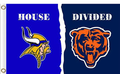 Minnesota Vikings vs Chicago Bears Divided Flag