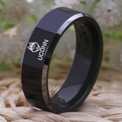 8MM Black Tungsten Connecticut Huskies Championship Ring