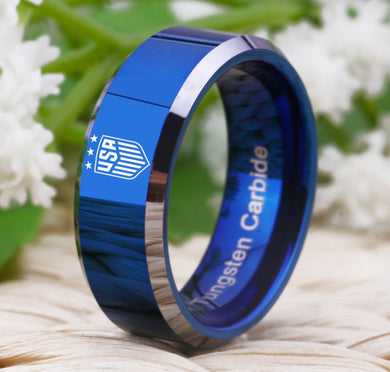 8MM Blue Tungsten USA Championship Ring