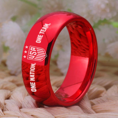 8MM Red Tungsten USA Championship Ring