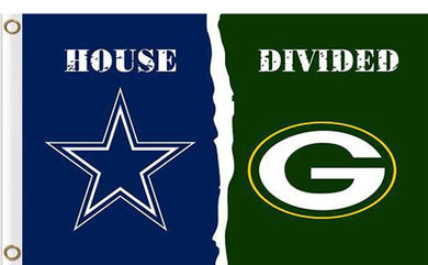 Dallas Cowboys vs Green Bay Packers Divided Flag