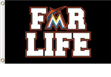 Miami Marlins For Life Banner flag 3ftx5ft