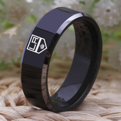 8MM Black Tungsten Los Angeles Kings Championship Ring