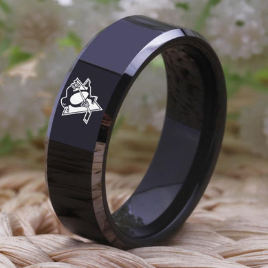 8MM Black Tungsten Pittsburgh Penguins Championship Ring