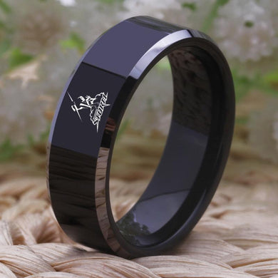 8MM Black Tungsten Melbourne Storm Championship Ring