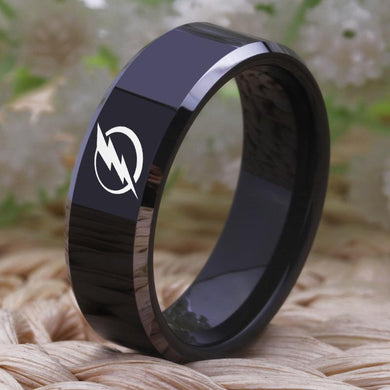 8MM Black Tungsten Tampa Bay Lightning Championship Ring