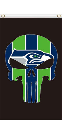 Seattle Seahawks 3x5FT Flags football skull