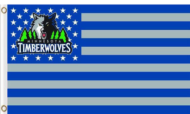 Minnesota Timberwolves logo and star-spangled flags 90x150cm