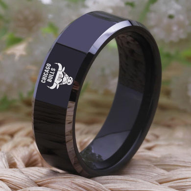 8MM Black Tungsten Chicago Bulls Championship Ring