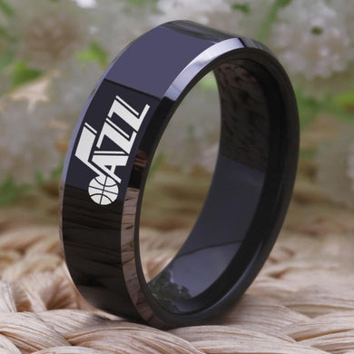 8MM Black Tungsten Utah Jazz Championship Ring