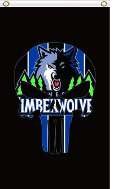 Minnesota Timberwolves skull flags 90x150cm