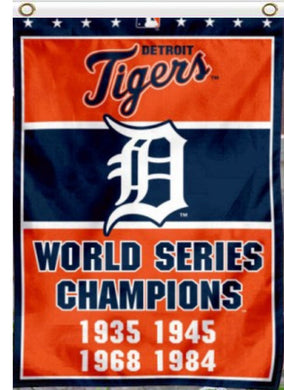 Detroit Tigers 4-Time World Series Champions Banner flags 3ftx5ft