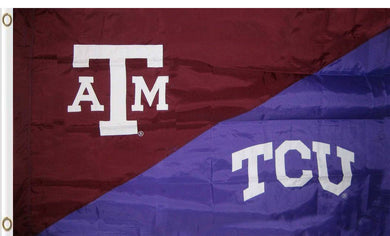 Texas A&M & TCU House Divided Flag 3ftx5ft