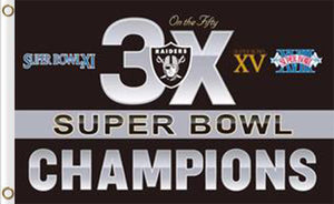 Oakland Raiders 3X Super Bowl Champions Flag 3ft x 5ft