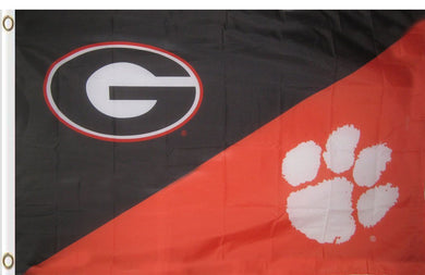 Georgia & Clemson Divided Flag 3ftx5ft