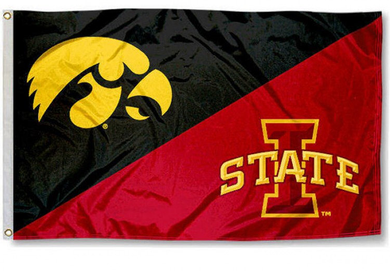 Iowa Hawkeyes vs Iowa State House divided flag 3ftx5ft