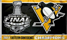 Load image into Gallery viewer, Pittsburgh Penguins 2017 Eastern Conference Champions Flag 3x5 ft