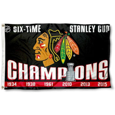 Chicago Blackhawks 6 Time Champs Flag 3x5 ft