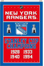 Load image into Gallery viewer, New York Rangers Flag 4 Times Stanley Cup Champions 3ftx5ft flag