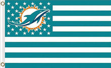 Load image into Gallery viewer, Miami Dolphins Flag with Star and Stripes 3FTx5FT
