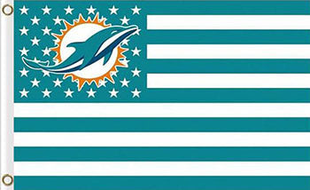 Miami Dolphins Flag with Star and Stripes 3FTx5FT