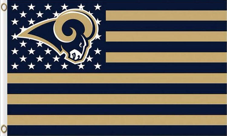Los Angeles Rams Flag with Star and Stripes 3FTx5FT