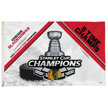 Load image into Gallery viewer, Chicago Blackhawks 6 Time Champs Flag 3x5 ft 100D
