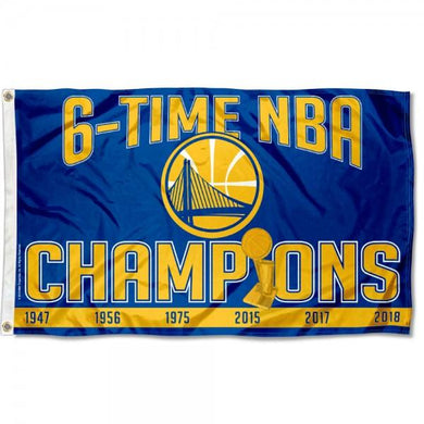 Golden State Warriors 6 Time Champions Flag