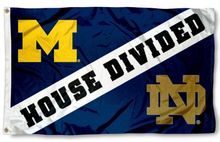 Load image into Gallery viewer, Michigan Wolverines vs Notre Dame House divided flag 3ftx5ft